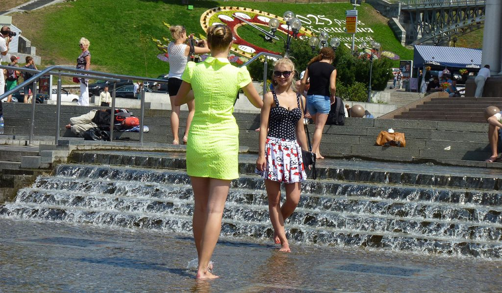Ukrainian beautiful girls taking pictures in Kiev
