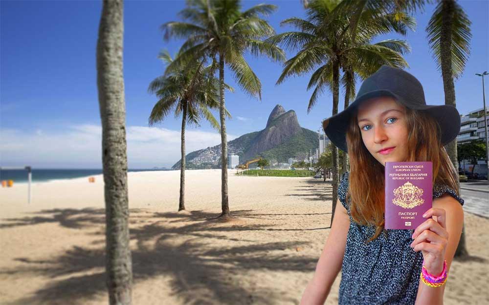 Girl holding Bulgarian passport in Rio De Janeiro